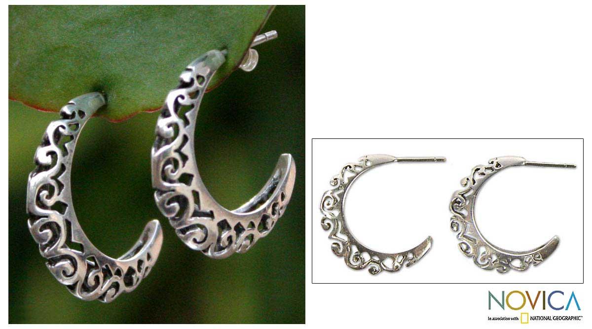 Sterling Silver 'Silver Lace' Half Hoop Earrings (Thailand)