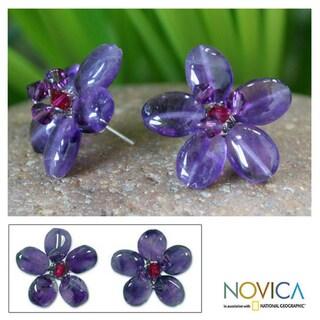 Sterling Silver 'Peace Flower' Amethyst Button Earrings (Thailand)