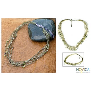 Pearl and Peridot 'River Of Green' Torsade Necklace (Thailand)