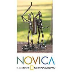 Iron 'Rustic Golfer' Sculpture (Mexico)