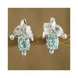 Sterling Silver Blue Topaz 'Sky Blossom' Floral Earrings (India)