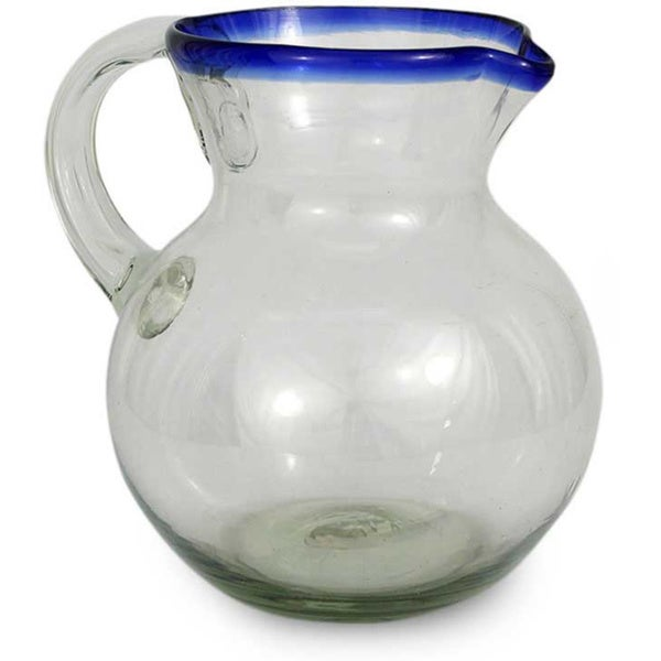 'Cobalt Ring' Hand-blown Glass Pitcher (Mexico)