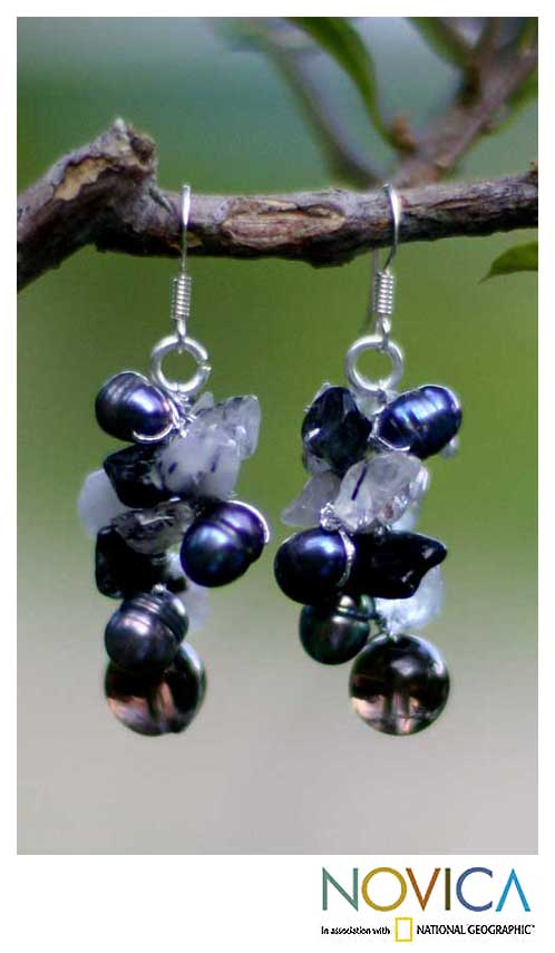 Pearl and Smokey Quartz 'Night Song' Cluster Earrings (Thailand)