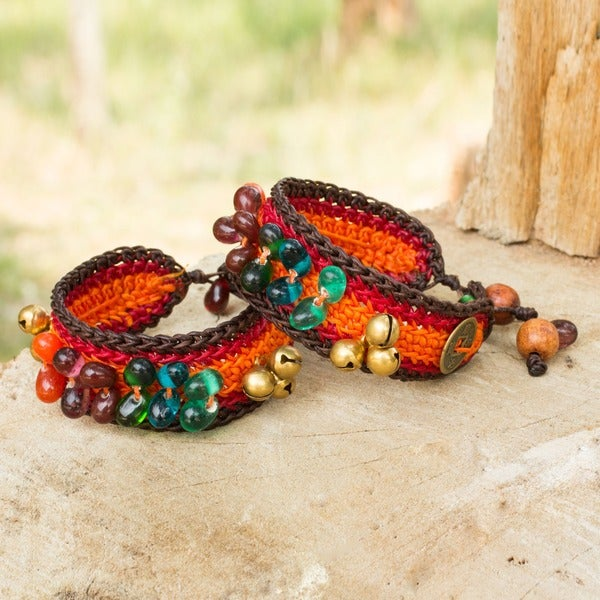 Set of 2 'Bold Orange Fortunes' Beaded Wristband Bracelets (Thailand)