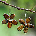 Pearl and Tiger's Eye 'Paradise' Flower Earrings (Thailand)