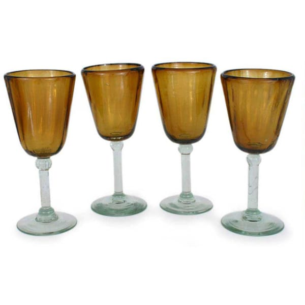 Blown-glass 'Amber Glory' Wine Glasses (Set of 4) (Mexico)