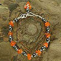 Carnelian and Hematite 'Night Fire' Beaded Bracelet (India)