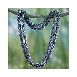 Lapis Lazuli 'Mermaid Song' Long Beaded Necklace (India)