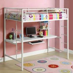 White Metal Twin Workstation Bunk Bed