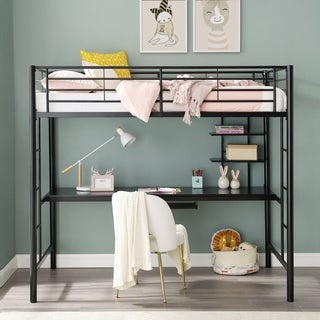 Black Metal Twin Workstation Bunk Bed