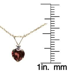 10k Yellow Gold Heart-cut Garnet and Clear Cubic Zirconia Necklace