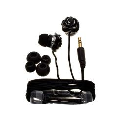 Nemo Digital Black Enamel Flower Earbud Headphones