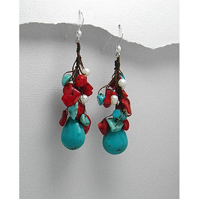Drop Turquoise/ Coral Earrings (Thailand)