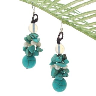 Cluster Turquoise/ Pearl Drop Earrings (Thailand)