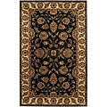 "Transitional Hand-Tufted Mandara Black Wool Rug (7'9"" x 10'6"")"