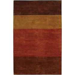 Hand-Tufted Mandara Brown Striped Wool Rug (7'9 x 10'6)