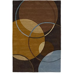 Hand-Tufted Mandara Brown/Blue/Gold Wool Rug (7'9 x 10'6)