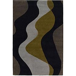"Modern Hand-Tufted Mandara Gray Wool Rug (7'9"" x 10'6"")"