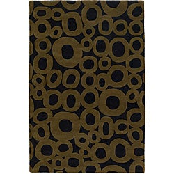 Hand-tufted 'Mandara' Black-and-Green Geometric Wool Rug