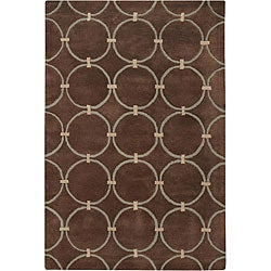 Hand-tufted 'Mandara' Brown Wool Rug (5' x 7'6)