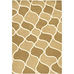 "Hand-Tufted 'Mandara' Contemporary Beige Wool Rug (7'9"" x 10'6"")"