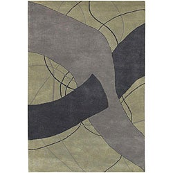 Hand-Tufted Mandara Gray Wool Rug (5' x 7'6