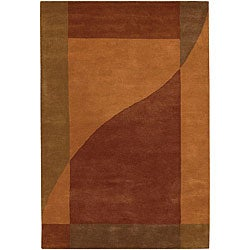 "Hand-Tufted Mandara Orange Wool Geometric Rug (7'9"" x 10'6"")"