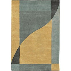 "Large Hand-Tufted Mandara Gray Wool Rug (7'9"" x 10'6"")"