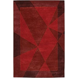 Hand-Tufted Mandara Dark Brown/Red Wool Rug (7'9 x 10'6)