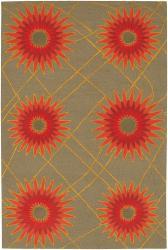 Hand-tufted Mandara Green New Zealand Wool Rug (5' x 7'6)