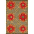 Hand-Tufted Mandara Green/Red/Orange Wool Rug (7'9 x 10'6)