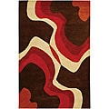 "Hand-Tufted Mandara Brown Wool Geometric Rug (5' x 7'6"")"