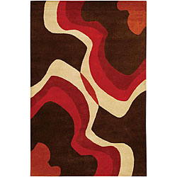 Hand-Tufted Mandara Brown/Orange/Ivory Wool Rug (7'9 x 10'6)