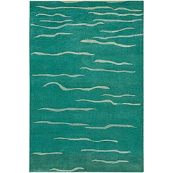"Hand-Tufted Mandara Green Abstract Wool Rug (5' x 7'6"")"