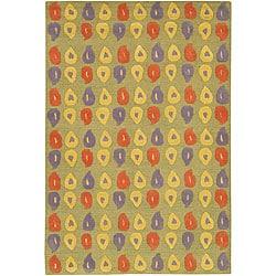 "Contemporary Hand-Tufted Mandara Green Wool Rug (5' x 7'6"")"