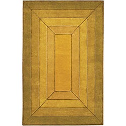 Hand-Tufted Mandara Green/Tan/Gold Wool Rug (7'9 x 10'6)