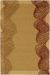 Hand-Tufted Gold/Burgundy Mandara New Zealand Wool Rug (7'9 x 10'6)