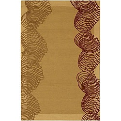 Hand-Tufted Gold/Burgundy Mandara New Zealand Wool Rug (7'9 x 10'6)