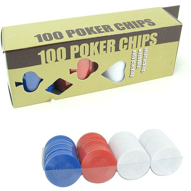 Radial Red/Blue/White Lightweight Plastic Poker Chips (Pack of 100)