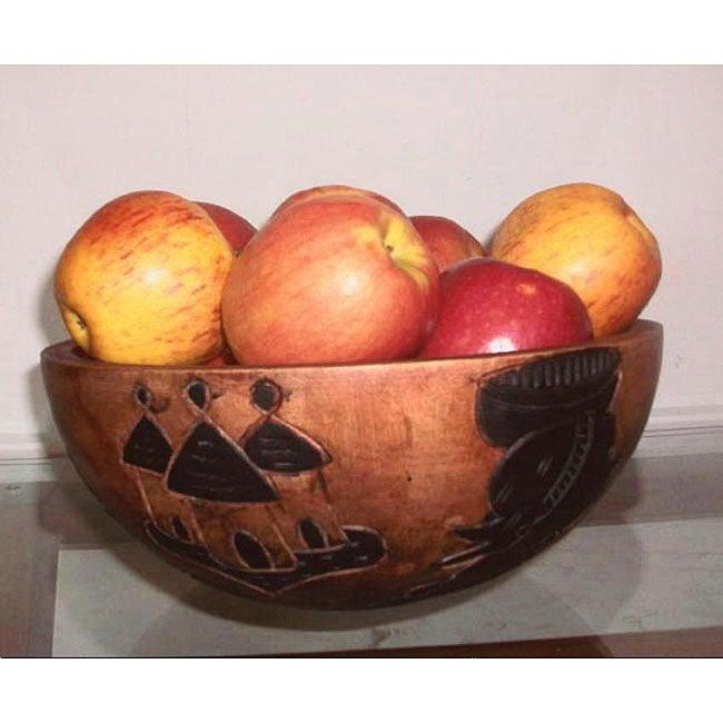 Large Hand-carved African Sesse-wood Wooden Tribal Fruit Bowl (Ghana)