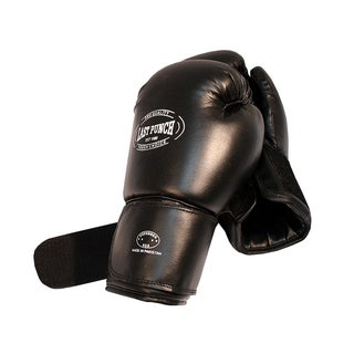 16-ounce Adult-size Black Padded PVC Boxing Gloves for Sparring