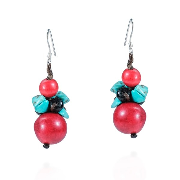 Coral Ball Drop Multi Stone Sterling Silver Earrings (Thailand)