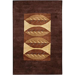 "Contemporary Hand-Tufted 'Mandara' Brown Wool Rug (7'9"" x 10'6"")"