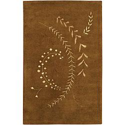 Hand-tufted 'Mandara' Brown Wool Rug (7'9 x 10'6)