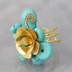Rose Cluster Turquoise Adjustable Ring (Thailand)