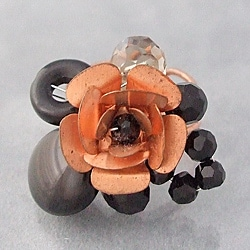 Black Onyx Flower Adjustable Ring (Thailand)