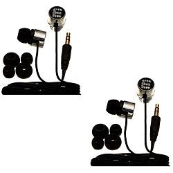 Nemo Digital Black Crystal 'E' Earbud Headphones (Case of 2)