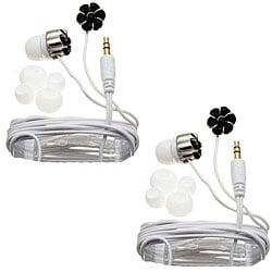 Nemo Digital Black/ White Crystal Flower Earbud Headphones (Case of 2)