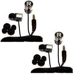 Nemo Digital Black Crystal 'R' Earbud Headphones (Case of 2)