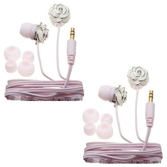 Nemo Digital White/ Pink Enamel Flower Earbud Headphones (Case of 2)